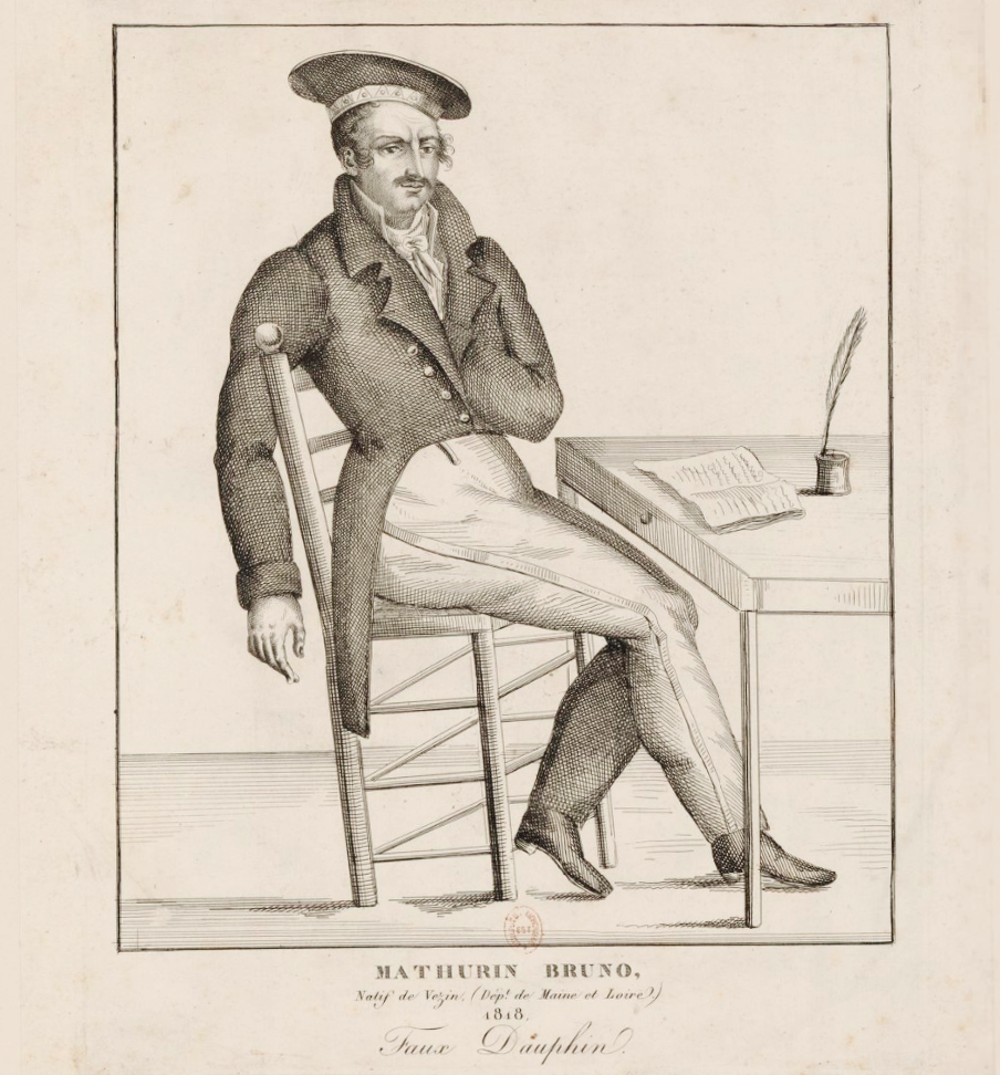 Portrait de Mathurin Bruneau , en pied, assis devant une table, 1818 (BnF)